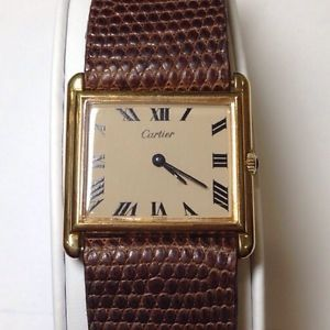Vintage Cartier Watch Sterling Silver Gold Plated