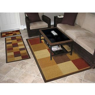 Fifteen Blockstextured Red Rug 3 Piece Set 100 Nylon Stain Resistant