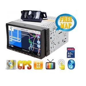 "2 DIN 7"" in Dash Car Stereo GPS DVD CD Radio Player Touchscreen BT iPod Camera"