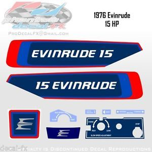 1976 Evinrude 15 HP Outboard Reproduction 9 Piece Vinyl Decals Fifteen Horse