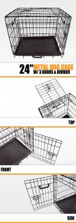 "24"" Small Folding Wire Dog Puppy Crate Cage Kennel Divider Travel Portable"