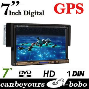 "1 DIN 7"" Flip Down GPS Navigation Car Stereo DVD CD Radio Player Touch Screen"