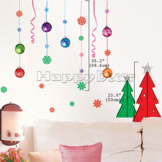 Christmas Ornament Wall Decals Removable DIY Accent Vinyl Art Stickers