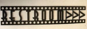 Restroom Sign Home Theater Decor Metal Wall Art Movie Decor