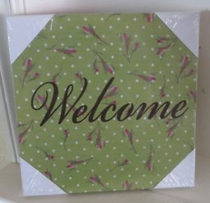 Shabby Cottage Country Rose Vintage Chic Welcome Canvas Wall Art Plaque Sign New