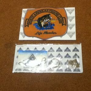 North American Fishing Club Life Member Patch and Key Chain and Stickers Hooks