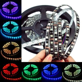 16ft 5050 RGB LED Strip 5M 300 LEDs SMD Waterproof 12V DC Black PCB Board