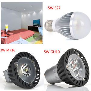 3W 5W E27 GU10 MR16 High Power Bright LED Spot Light Home Lighting Bulb White