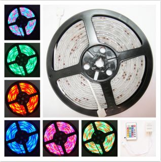 RGB 5M 16ft Waterproof 3528 SMD Strip 300 LED Remote Controller Power Supply USA