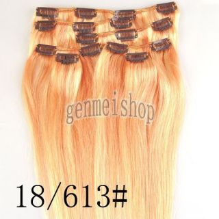 Light Ash Blonde Mix Blonde Clip in Real Human Hair Extensions 18 613 15inch