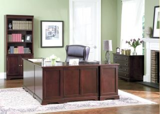 L Shaped Home Office Desk Bookcase File 3 Piece Set