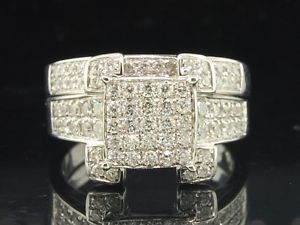 Ladies 14k White Gold Diamond Engagement Ring Wedding Band Bridal Set 1 01 Ct