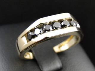 Mens 10K Yellow Gold Black Diamond Engagement Wedding Band Fashion Ring 1 01 Ct