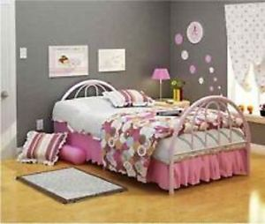 Twin Bed Kids Girls Pink Bedroom Furniture Bedding Frame Child Inexpensive