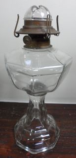 Antique Clear Panel Glass Hurricane Oil Lamp Light w Bing Oil Burner C 1903