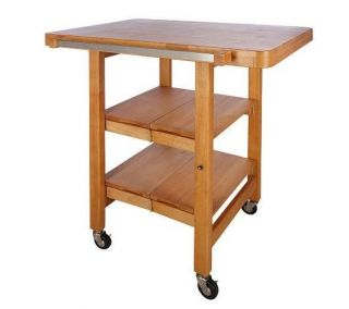 Folding Island Rectangular Kitchen Cart w Butcher Block Style Top