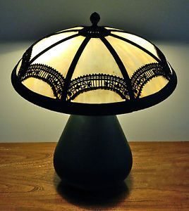 "Bradley Hubbard Art Deco Slag Glass Lamp w Squat Base 16 5"" Shade"