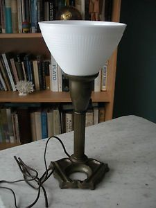 Industrial Art Deco Torchiere Desk Lamp Cased Glass White Waffle Shade Cast Base
