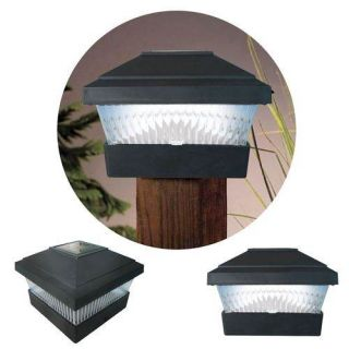 New 2 x Black Solar Powered LED Outdoor Garden Post Deck Cap Square Fence Lights