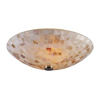 2 Light Semi Flush Ceiling Lighting Fixture Satin Nickel Mosaic Shell Glass