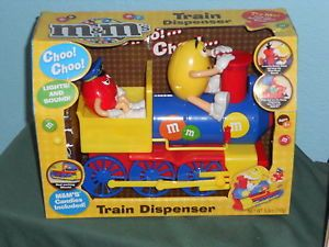 M M M M's Christmas 2013 Train with Sound Lights Candy Dispenser Red Yellow