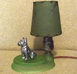1930's Antique Art Deco Lamp w Scottie Dog GR Vaseline Glass Base Fiber Shade
