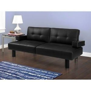 Modern Black Faux Leather Convertible Futon Sofa Bed Couch Living Room Office