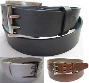 Mens 2 Double Holes Dress Casual Leather Belt 2 Prong Roller Removable Buckle