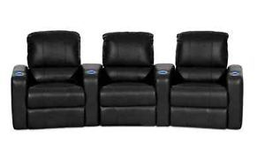 Home Theater Seating Row of 3 Chairs Black Leather Recliner Chair Movie Room