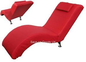 Faux Leather Recliner Chaise Chair Red Easy Relax Reclining Lounge Chair