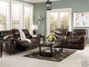 Diego Contemporary Dark Brown Faux Leather Recliner Sofa Couch Set Living Room