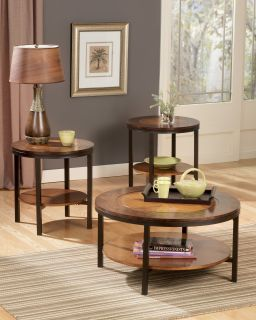Wood Metal Contemporary Cocktail Coffee Table Set 3in1 Modern Style Tables Round