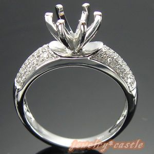 Solid 14k White Gold Diamond Engagement Semi Mount Ring Setting 6 Prong Ring