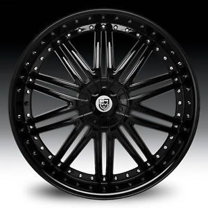 "24"" Lexani LX 10 Black Wheel Set 24x9 5 for 5LUG 6LUG rwd Vehicles Lexani LX10"