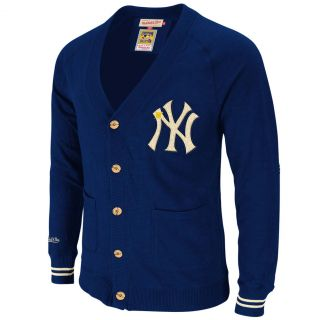 MLB Mitchell Ness 8560 Head Coach Cardigan Sweater Knit New York Yankees Navy
