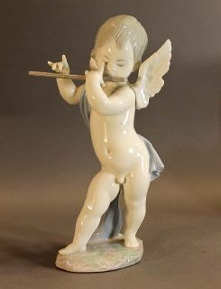 Fine Vintage Lladro Angel Playing Flute Porcelain Figurine Statue
