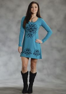 Roper Womens Dress Western Blue Turquoise Cotton Poly Jersey Dress 1126