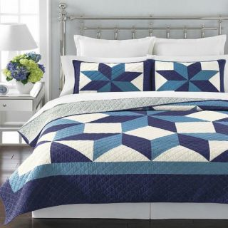 Martha Stewart Geo Stars Full Queen Quilt Blues White