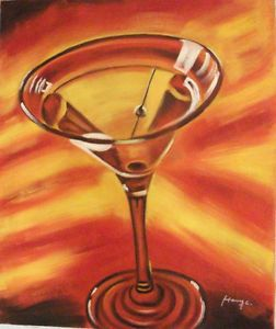 "Hand Painted Signed Martini Glass Art Oil Painting on Canvas 20"" x 24"""