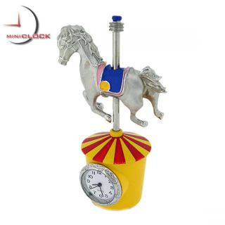Miniature Clock Mini Red Orange Carousel Silver Horse