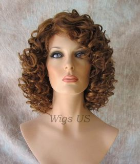 Medium Brown Strawberry Human Hair Blend Heat OK Short Sexy Curls Wig