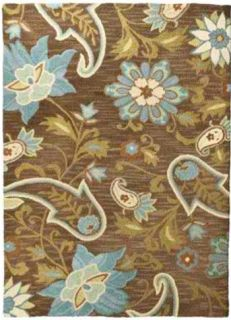 Mohawk Home Tropical Flowers Wool Rug – Brown 96x132""