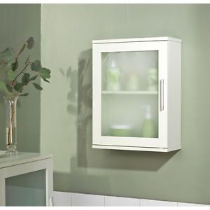 Bathroom Stroage White Wall Medicine Cabinet Frosted Glass Framed Door New