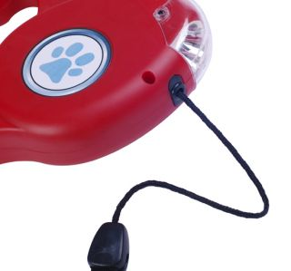 New 15ft Top Auto Retractable Large Dog Pet Leash Harness Cord w LED Light Red