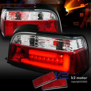 3D LED Light Bar 92 98 BMW 325 328 Coupe Red Tail Lights Clear Brake Lamps E36