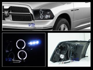 "Glossy ""Piano Black"" 2009 2012 Dodge RAM Halo LED Projector Headlights"