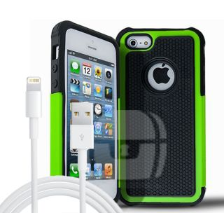 2X Accessories for iPhone 5 5S Green Armor Heavy Duty Cover Case Charger Cable