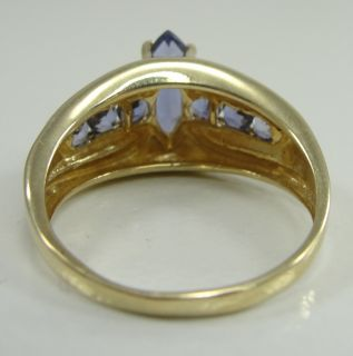 14k Yellow Gold Ring Amethyst Marquise Cut Prong Set Size 8 5