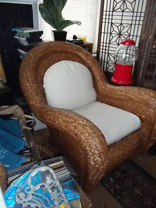 Set of 2 Pottery Barn Wicker Rattan Oversize Indoor Outdoor Chairs w Cushions