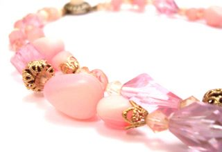 Vintage Necklace Pink Faux Crystal Beaded Double Strand Jewelry